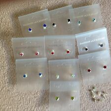 JOB LOT-10 pairs of 10 different colours 0.5cm stone diamonte stud earrings.