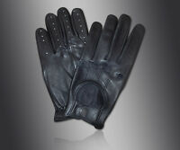 MENS CLASSIC CHAUFFEUR DRIVING GLOVES LAMBSKIN LEATHER DRESS FASHION GLOVE BLACK