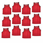 Set of 12 pcs Scrimmage Vest Vests Pinnies Soccer Youth Red