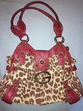 Guess Leopard Print With Red Accents Purse ~ Shoulder Bag