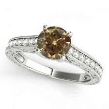 1 Ct Brown Cognac Round Diamond Solitaire Engagement Ring 14k White Gold Deal