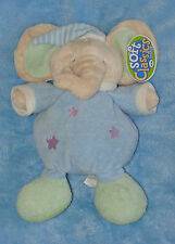 Soft Classice Plush Elephant Baby Rattle Blue Green Star Stuffed Toy 11""