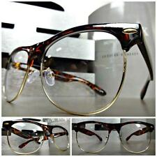CLASSIC VINTAGE RETRO Style Clear Lens EYE GLASSES Tortoise & Gold Fashion Frame