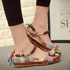 Women's Beading Round Toe Embroidered Shoes Lace Up Colorful Casual Flats Shoes