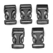 5 x 25mm Black Plastic Side Quick Release Buckles for Webbing Interlocking
