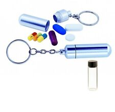STASH PILL BOX CASE CONTAINER KEY RING CHAIN WITH VIAL FOR POWDER *BUY 2 GET 3*