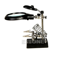 LED Magnifying Glass With 3 Lens Magnifier Light Helping Hand Soldering Stand
