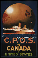 "1920 CPOS to Canada United States Vintage Travel Poster Ad 13 x 19"" Photo Print"
