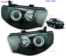 Led Black Head Lamp Lights Projector Fit Mitsubishi L200 Triton Strada 2006-2013