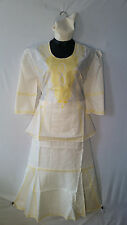 Women Clothing African Dashiki Skirt Suit Attire Off White Free Size Print #9320