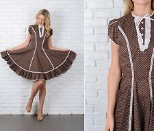 Vintage 70s Brown Mod Dress White Lace Crochet Polka Dot Full Mini Small S