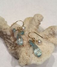 14k solid yellow gold Pearl And Topaz Briolette earrings