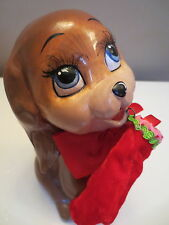 "KATHERINE'S COLLECTION~6"" PUPPY DOG w/STOCKING GIFT BOX~XMAS DECOR FIGURINE VTG"