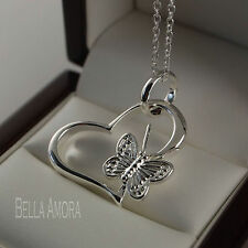 "925 Silver Plated Heart Butterfly Pendant with 18"" Chain Necklace - New - UK 180"