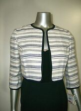 Anne Klein Women's Petite Suit Separate Striped Jacket in Ivory & Black 2P