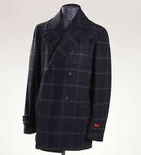 NWT $3295 ISAIA Slate Blue Windowpane Wool-Silk Melange Peacoat Slim 42 R Coat