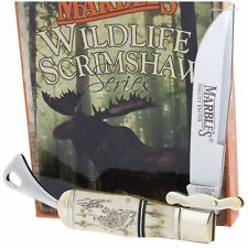 Marbles MR256 Scrimshaw Safety Folder Knife White Smooth Bone and Stag Handles
