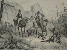 BELLE Litho CHASSE CHIEN CHEVAL PERDRIX MONTAGNE HUNT HUNTING VICTOR ADAM 1840