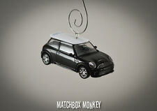 Black Custom Hard Top 2 Door Austin Mini Cooper Christmas Ornament 1/64 Car BMW