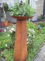 Säule mit Schale H.128 Pflanzsäule Gartendeko Metall Rost Edelrost Fackel