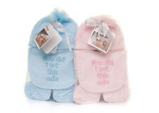 Personalised Embroidered Baby Hat Bib mits & booties set pink