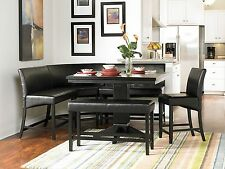 BILBAO-6pcs Modern Square Black Counter Height Dining Room Table Chairs Pub Set