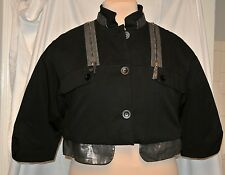 Ports 1961 Black Cotton Twill Cropped Bolero Padded Jacket-NWOT-Pewter Gold Trim