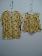 USA Made Nancy King Lingerie Top w/ Boxers Pajama Set Small Yellow Floral #256C
