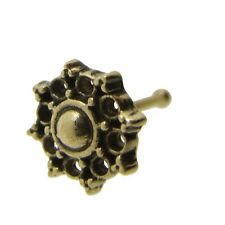 ORNATE 20G AFGHAN STYLE TRIBAL BRASS NOSE STUD NOSE PIN BONE 7MM POST 6MM HEAD