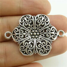 14438*10PCS Antique Silver Vintage Plants Hollow Flower Pendant Jewelry Alloy