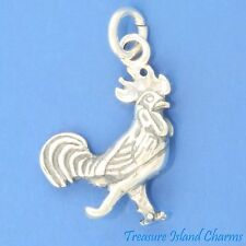 DETAILED ROOSTER 3D CHICKEN HEN BIRD .925 Solid Sterling Silver Charm Pendant