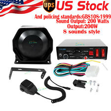 200W 8 Sounds Car AUTO Warning Alarm Police Siren Horn PA Speaker MIC System
