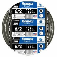 125' Roll 6-2G AWG NMB Gauge Indoor Electrical Copper Wire Black Romex (55 Amp