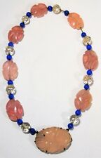 Vtg Art Deco WALTER LAMPL Carved Chinese Rose Quartz Sterling Bead Necklace