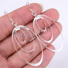 "Ladies 925 Sterling Silver Fashion 2.5 x 1"" Big Oval 3-Hoop Dangle Earrings Y136"