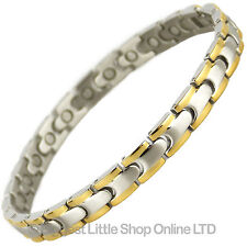 NEW LADIES Magnetic STAINLESS STEEL Bracelet 2 Tone Rare Earth Magnets Bio GIFT