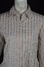 George Womens Large 12-14 Red White Gold Striped Long Sleeve Button Down Shirt