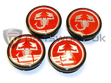 Set Of Four New Genuine Fiat Bravo Brava & Marea Abarth Alloy Wheel Centre Caps