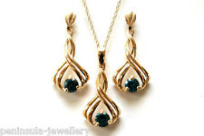 9ct Gold London Blue Topaz Pendant and Earring set Made in UK Gift Boxed