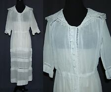Antique Edwardian 1910's White Cotton or Linen Lawn Muslin Dress Lace Tiered M