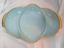 Fire King Divided Relish Tray Delphite Blue with Gold Trim
