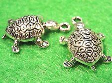 50Pcs. WHOLESALE Tibetan Silver 3D TURTLE Tortoise Charms Pendants Drops Q0195