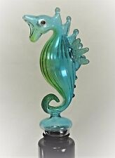 Seahorse Wine Bottle Stopper Hand Blown Art Glass Bar Accessory (A)