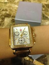 Michele Deco Diamond Watch Gold Stainless Steel