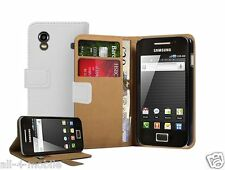 WHITE Wallet Leather Case cover Samsung Galaxy ACE GT-S5830 / S5830i
