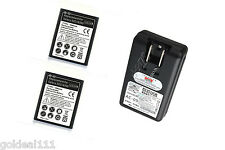 NEW 2x 2300mAh Battery + 1x USB Dock/Wall Charger for SamSung Galaxy S3 SIII *
