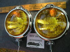 NEW SMALL OF 6 - VOLT AMBER VINTAGE STYLE FOG LIGHTS WITH FOG CAP ON LIGHTS !