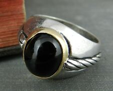 Signed Sterling Silver & 14K Yellow Gold, Onyx Signet Ring - Size 10.5