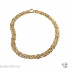 "18"" Sevilla Gold Bold Double Row Byzantine Chain Necklace Real 14K Yellow Gold"