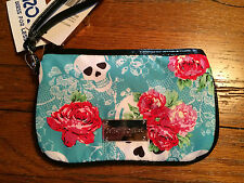BETSEY JOHNSON Skulls and Roses Turquoise Clutch Wristlet NWT!